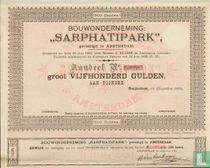 """Bouwonderneming """"Sarphatipark"""", Aandeel 500,= Gulden, blankette"""