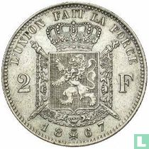 Belgium 2 francs 1867 (with cross on crown)