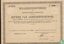 Waarborgfonds der Amsterdamsche Vereeniging tot het Bouwen van Arbeiderswoningen, Aandeel, 1.000,= Gulden, blankette