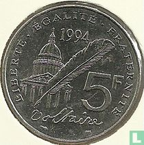 """Frankrijk 5 francs 1994 """"300th anniversary of the birth of Voltaire"""""""