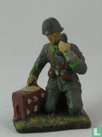 Dutch soldier with field telephone