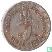 Rhodésie et du Nyassaland 3 pence 1956