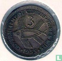 Cyprus 3 mils 1955