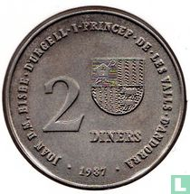 "Andorra 2 diners 1987 (coin alignment) ""1992 Olympics in Albertville and Barcelona"""