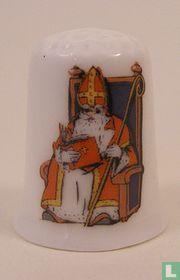 Sinterklaas op troon bedrukt op een porselein vingerhoedje