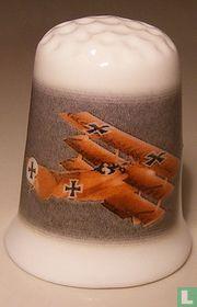 Rode baron Vliegtuig bedrukt op een porselein vingerhoedje
