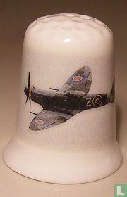 Spitfire Vliegtuig bedrukt op een porselein vingerhoedje