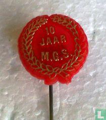 10 jaar M.G.S. (laurel wreath) [red]