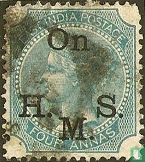 Königin Victoria mit kleinem Aufdruck On H.M.S.