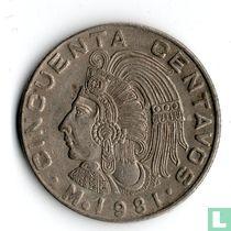 Mexico 50 centavos 1981 (Brede datum, ronde 9)