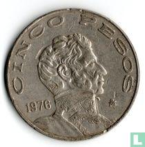 Mexico 5 pesos 1976 (grote datum)