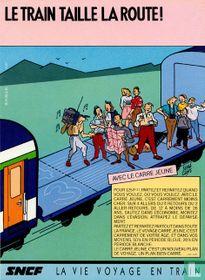 Le train taille la route!