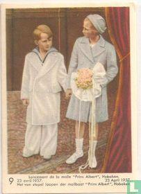 """Het van stapel loopen der mailboot """"Prins Albert"""" 23 April 1937."""