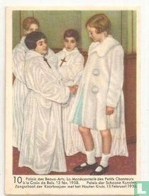 Paleis der Schoone Kunsten. Zangschool der Koorknapen met het Houten Kruis. 13 februari 1938