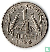 India ¼ rupee 1954 (Calcutta - grote leeuw)