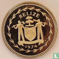 """Belize 25 cents 1974 (PROOF - koper-nikkel) """"Blue-crowned motmot"""""""