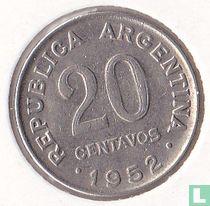 Argentinië 20 centavos 1952 (staal bekleed met nikkel)