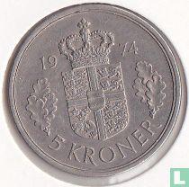 Denemarken 5 kroner 1974