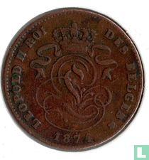 België 2 centimes 1874 (breed jaartal)
