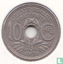 Frankrijk 10 centimes 1938 (zonder punten)