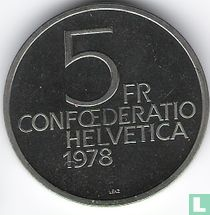 """Zwitserland 5 francs 1978 """"150th anniversary of the birth of Henry Dunant"""""""
