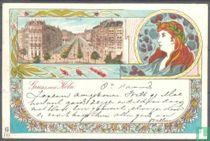 Jugendstil Litho, Gruss aus Köln