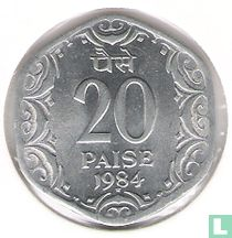 India 20 paise 1984 (Hyderabad)