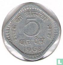 India 5 paise 1968 (Hyderabad, type 2, kleine 5)