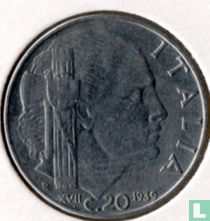 Italien 20 Centesimi 1939 (nicht Magnetisch - reeded - XVII)