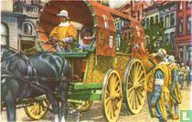 Brussel - De Ommegang in 1935 opnieuw samengesteld. De Reiswagen van de Rederijkerskamer