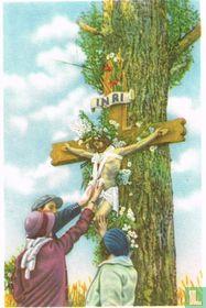 Walcourt - De bedevaartgangers raken het lichaam van Christus aan terwijl zij hem aanroepen