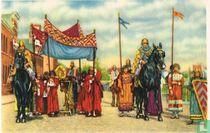 Kortrijk - Processie van het Heilig-Haar. Filips van den Elzas en de Kruisridders brengen de relikwie