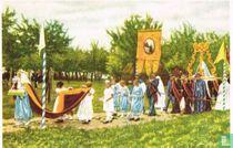 Zout-Leeuw - De Processie van O.-L.-V. van den Osseweg trekt door de velden