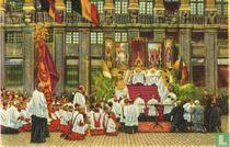 Brussel - Het Bidaltaar op de Groote Markt voor de Processie van het Heilig Sacrament van Mirakelen
