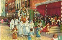 Brugge - De Heilige-Bloedprocessie. De Heilige Maagd en het Kindeken Jezus