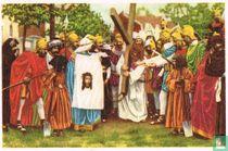 Kortrijk - Processie van het Heilig-Haar. De Heilige Veronika wischt Jezus' aangezicht af