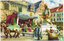"""Mechelen - Processie van Onze-Lieve-Vrouw van Hanswijk in 1938. Herinnering aan den ouden Ommegang van Mechelen: den """"Grootvader"""" die van 1600 dagteekent"""