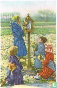 Teralfene - De bedevaart der Maria-Boodschap (Kinderen versieren de kapellekens met bloemen)
