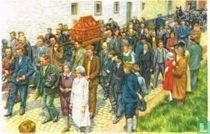 Ronse - De Relikwieën van den Heiligen Hermes worden daags voor de Processie naar de kerk gedragen
