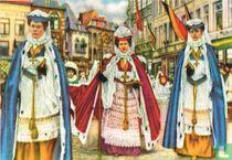 Bergen - De Dames-Kanunnikessen van Sinte-Waudru in de Processie: de Dame Stafhoudster