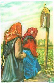Teralfene - Biddende boerinnen tijdens de bedevaart der Maria-Boodschap