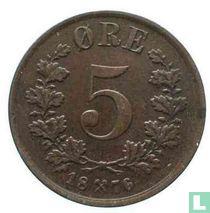 Norwegen 5 Øre 1876