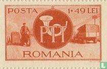 Post- en spoorwegen - Motorrijder en postwagen