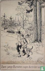 Zwei junge Burschen suckle durch den Wald