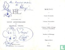 Menu card t.g.v. the 27 anniversary of the weekly magazine Tintin with Hergé 's drawings and Greg