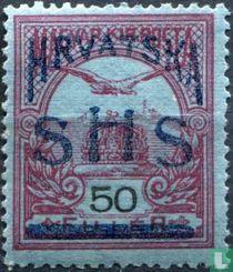 Hongaarse postzegels met opdruk
