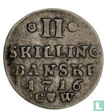 Denemarken 2 skilling 1716