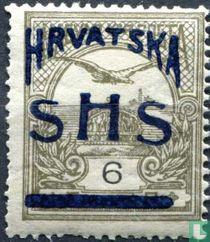 Hongaarse postzegel met opdruk