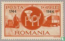 Post- en spoorwegen - Motorrijder en postwagen, met opdruk
