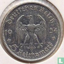 """Duitse Rijk 5 reichsmark 1934 (A - met datum) """"1st Anniversary of Nazi Rule - Potsdam Garrison Church"""""""
